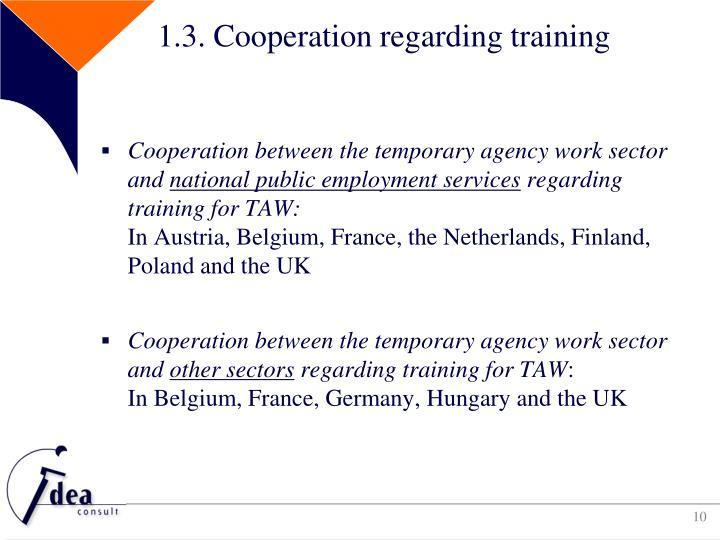 1.3. Cooperation regarding training