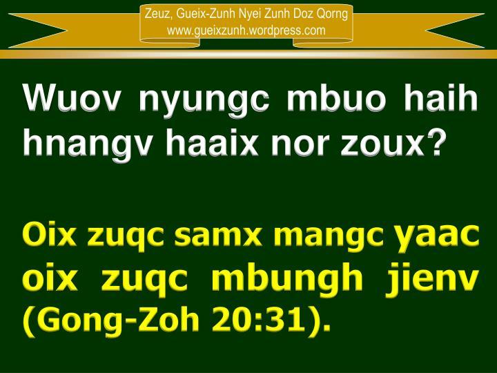 Wuov nyungc mbuo haih hnangv haaix nor zoux?