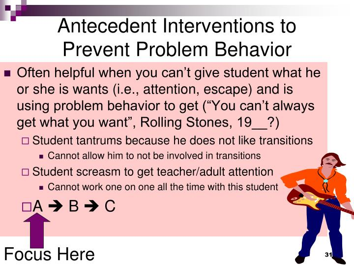 Antecedent Interventions to Prevent Problem Behavior