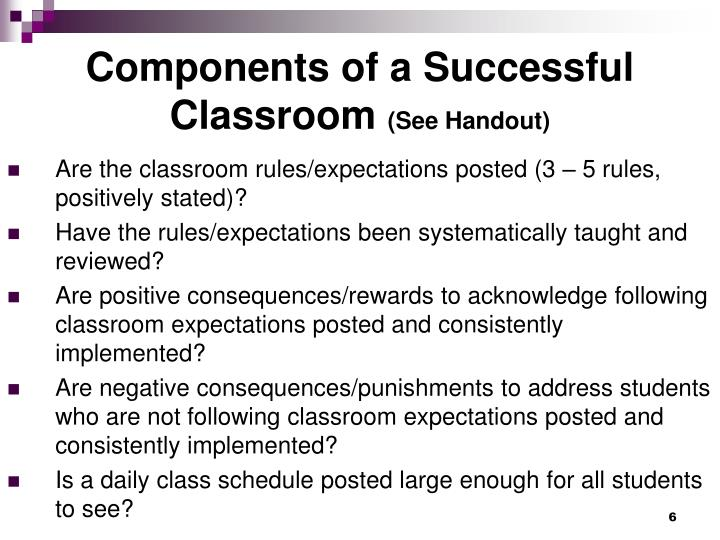 Components of a Successful Classroom