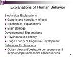 explanations of human behavior