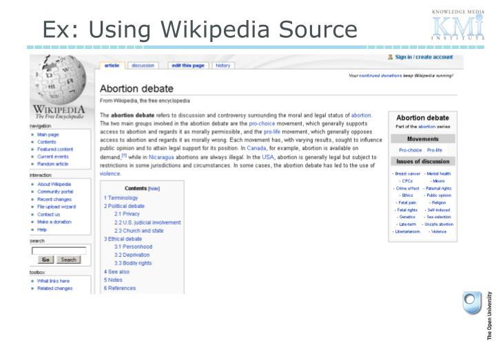 Ex: Using Wikipedia Source