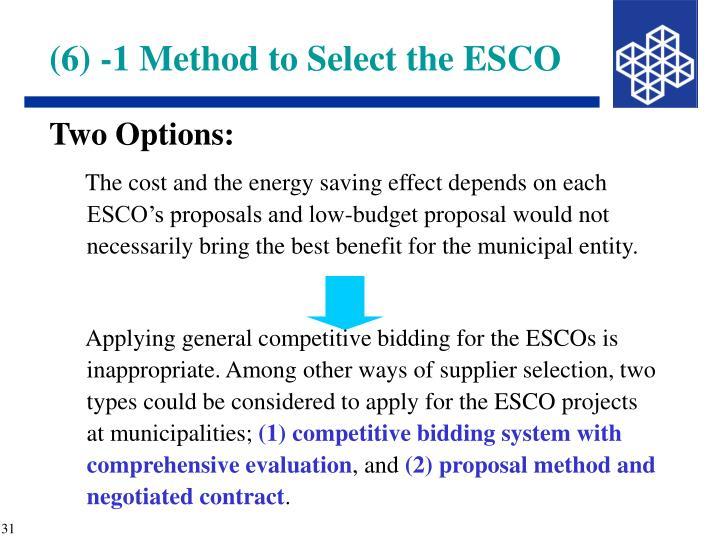(6) -1 Method to Select the ESCO