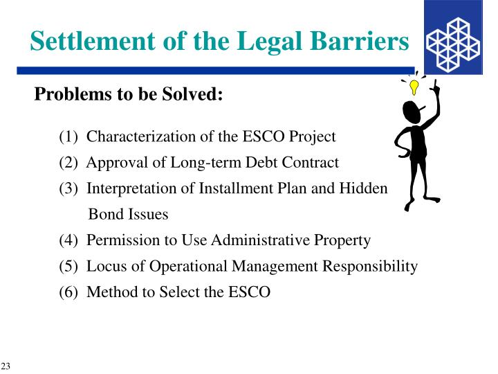 Settlement of the Legal Barriers