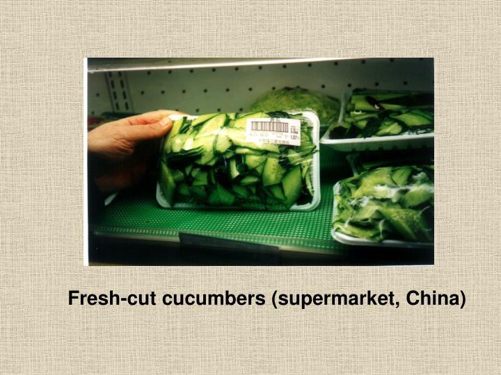 Fresh-cut cucumbers (supermarket, China)