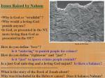 issues raised by nahum