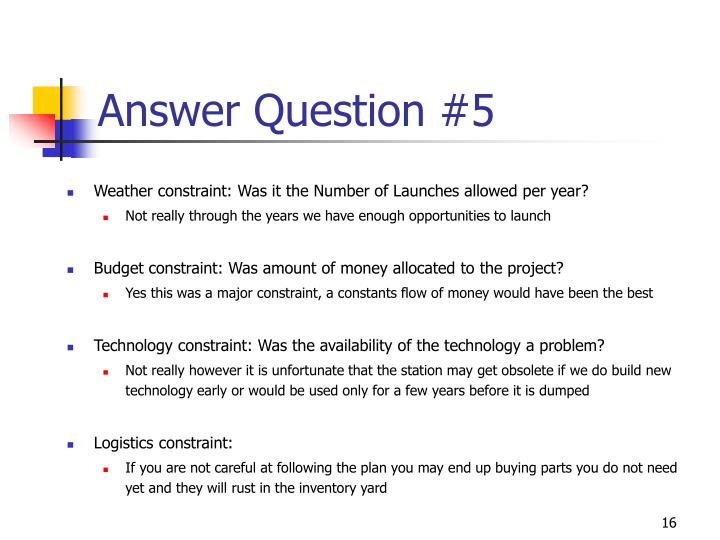 Answer Question #5