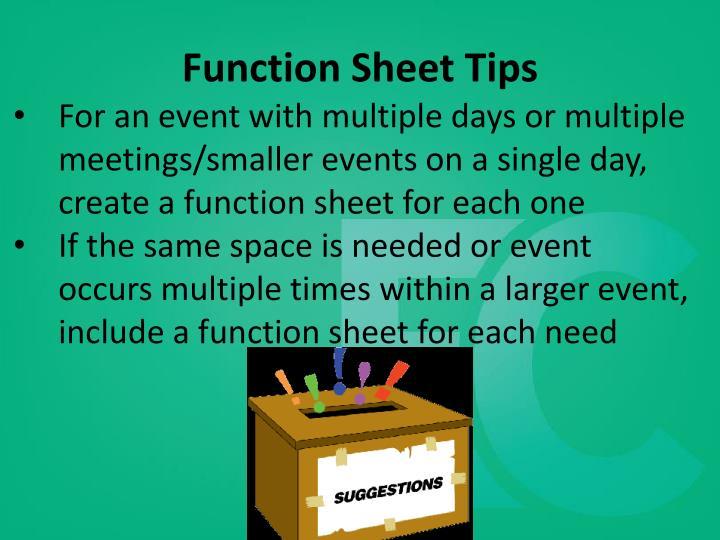 Function Sheet Tips
