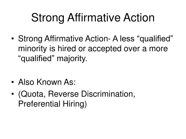 affirmative action a plan designed to end discrimination Related to affirmative action: affirmative action plan affirmative action employment programs required by federal statutes and regulations designed to remedy discriminatory affirmative action plans may be undertaken voluntarily, as in the case of a private school's admissions goals imposed.