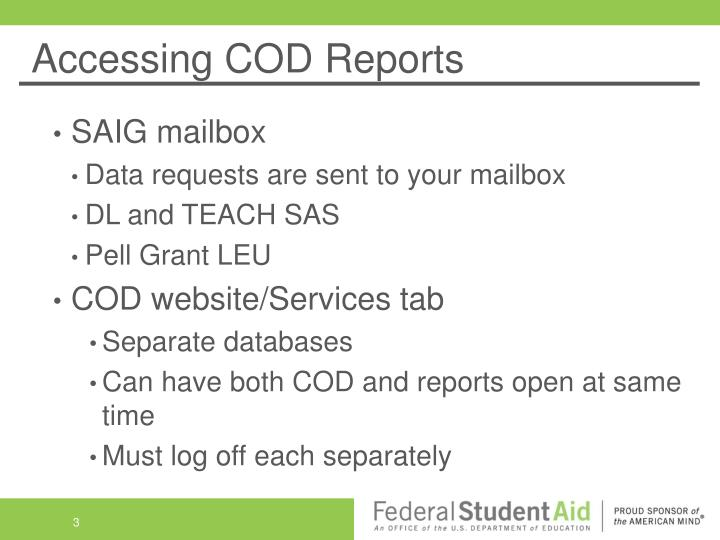 Accessing cod reports