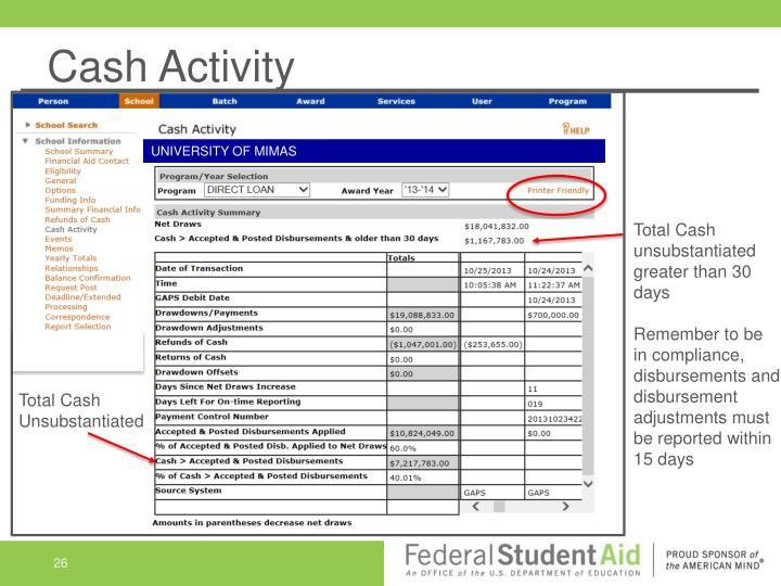 Cash Activity