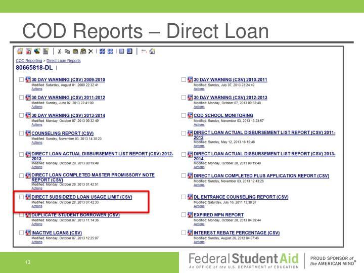COD Reports – Direct Loan