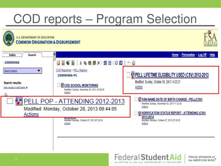 COD reports – Program Selection