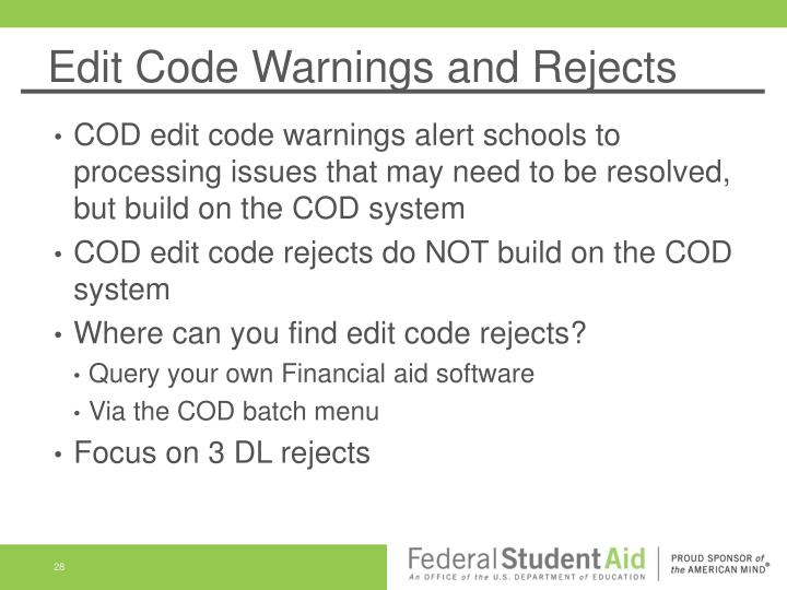 Edit Code Warnings and Rejects