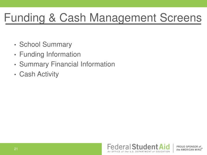 Funding & Cash Management Screens