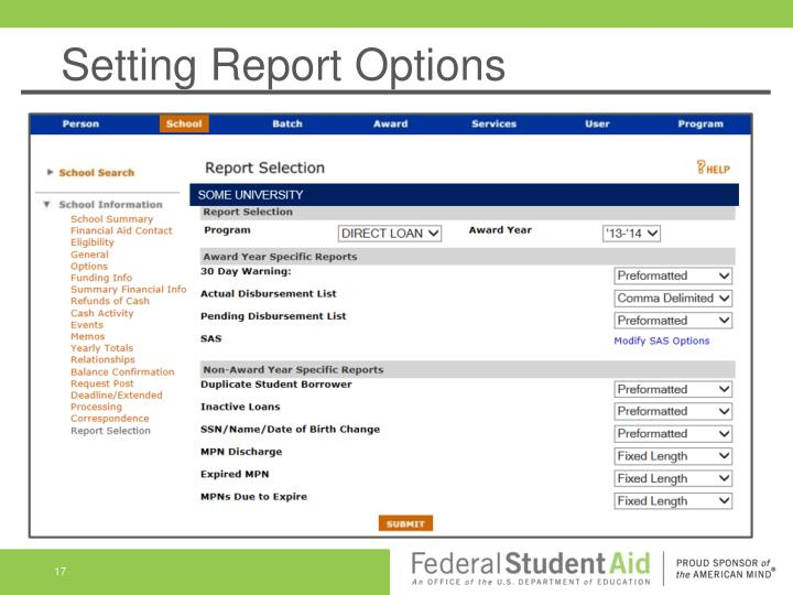 Setting Report