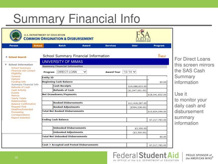Summary Financial Info