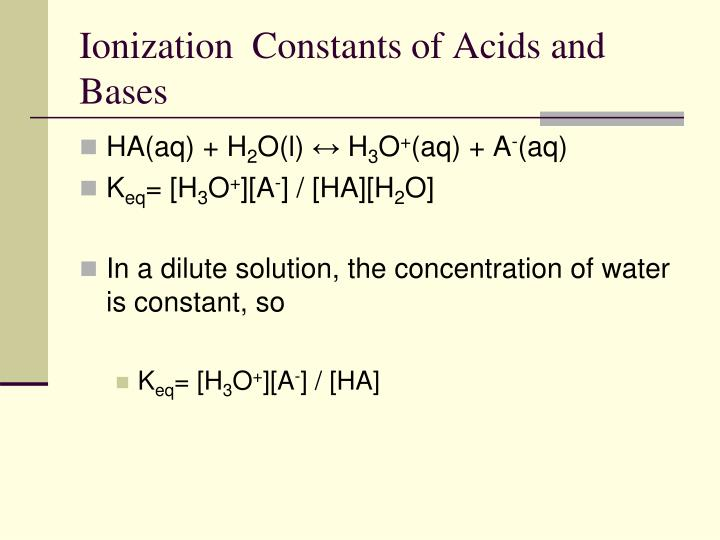 Ionization  Constants of Acids and Bases