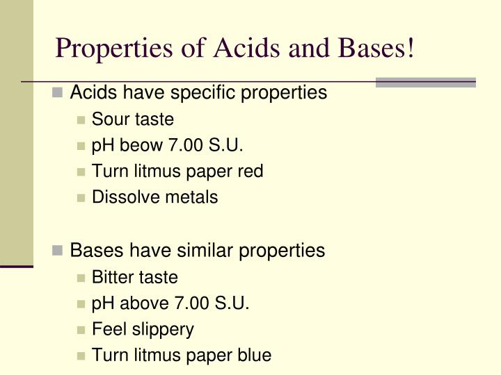Properties of Acids and Bases!