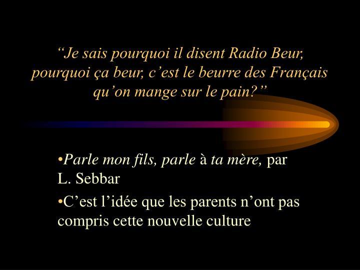 """""""Je sais pourquoi il disent Radio Beur, pourquoi ça beur, c'est le beurre des Français qu'on mange sur le pain?"""""""