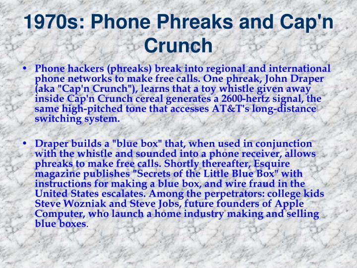 1970s phone phreaks and cap n crunch