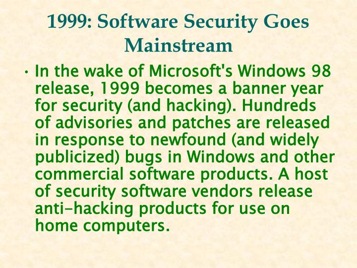 1999: Software Security Goes Mainstream