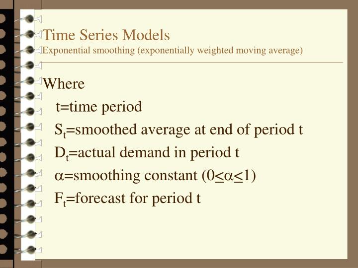 time series models Time series (autoregressive) models introduction] 1 causal premise: historical pattern of the dependent variable can be used to forecast future values of the dependent variable under the assumption that past influences will continue into the future.