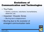 evolutions of communication and technologies