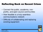 reflecting back on recent crises