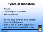 types of disasters