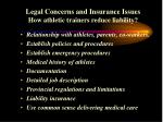 legal concerns and insurance issues how athletic trainers reduce liability