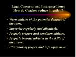 legal concerns and insurance issues how do coaches reduce litigation