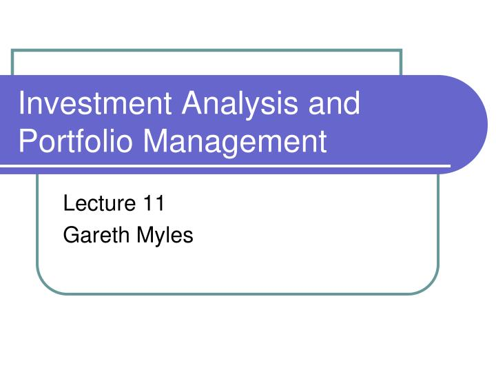 investment analysis and portfolio management n.