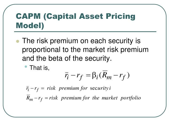 capital asset pricing model capm in emerging markets 2018-4-18 the capital asset pricing model (capm), developed independently in the work by sharpe (), lintner and mossin (), is one of the most famous and influential models of financial economics, regardless of its limitationsthe capm serves as a valuation technique for financial assets, building on the idea of market equilibrium and implied asset prices.