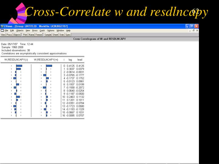 Cross-Correlate w and resdlncapy