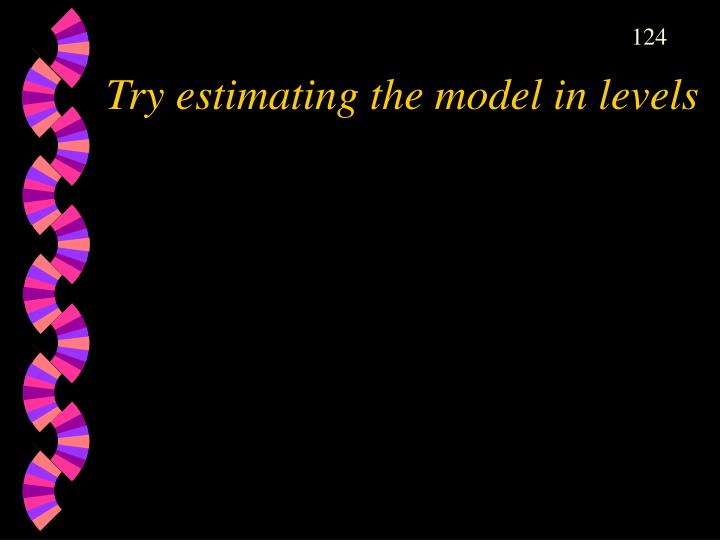 Try estimating the model in levels