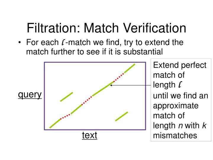 Filtration: Match Verification
