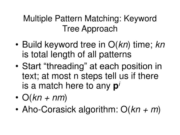 Multiple Pattern Matching: Keyword Tree Approach