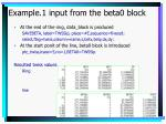 example 1 input from the beta0 block