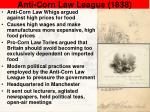 anti corn law league 1838
