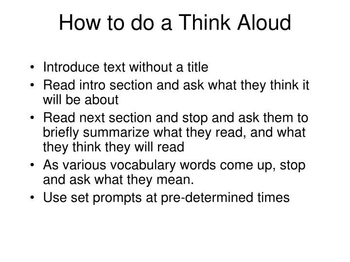 How to do a Think Aloud