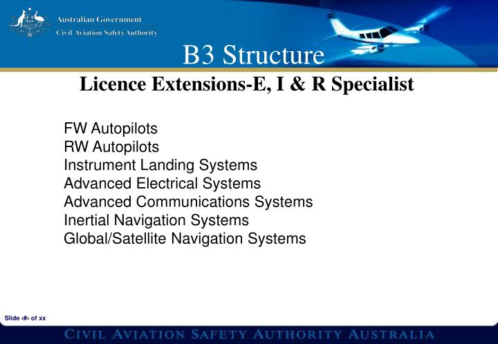 Licence Extensions-E, I & R Specialist