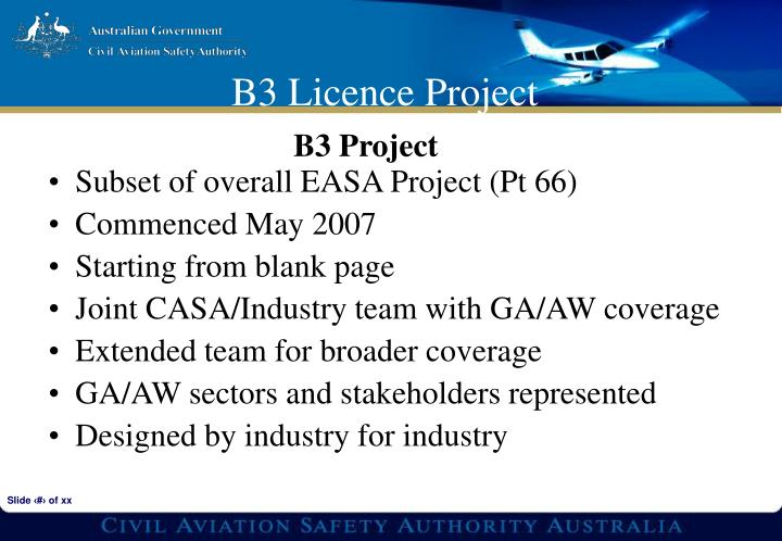 Subset of overall EASA Project (Pt 66)
