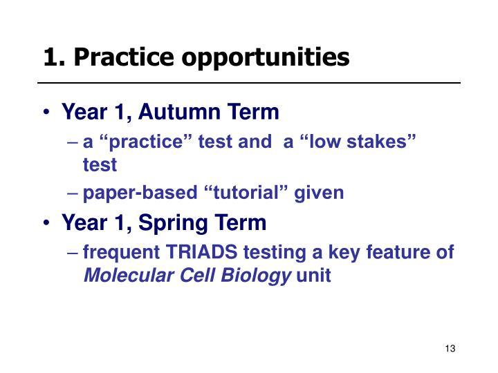 1. Practice opportunities