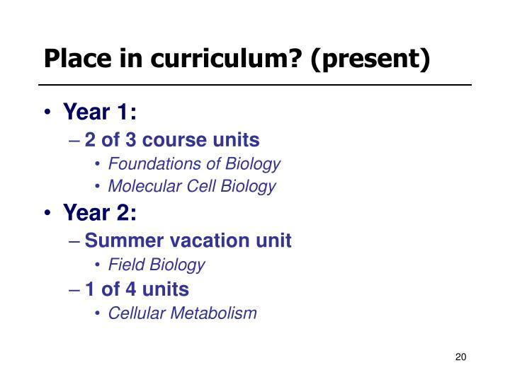 Place in curriculum? (present)