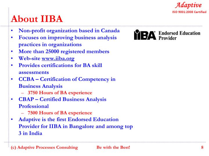 Ppt Iiba Endorsed Certified Business Analyst Workshop V150