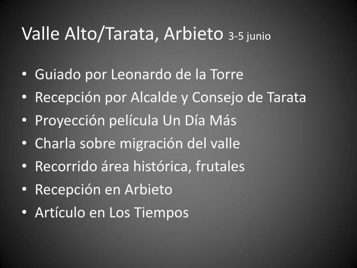 Valle Alto/Tarata, Arbieto