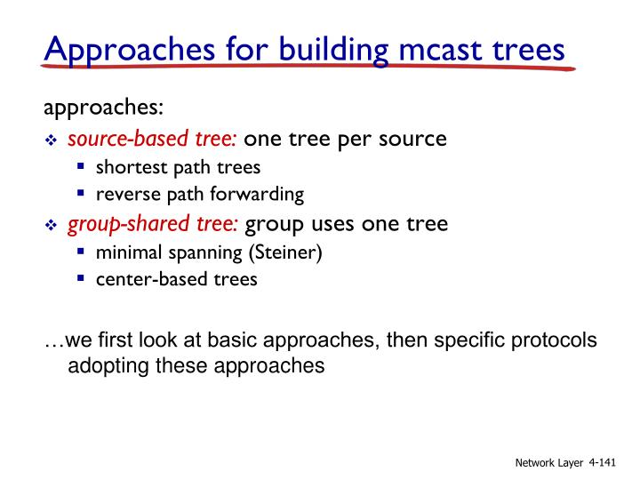 Approaches for building mcast trees