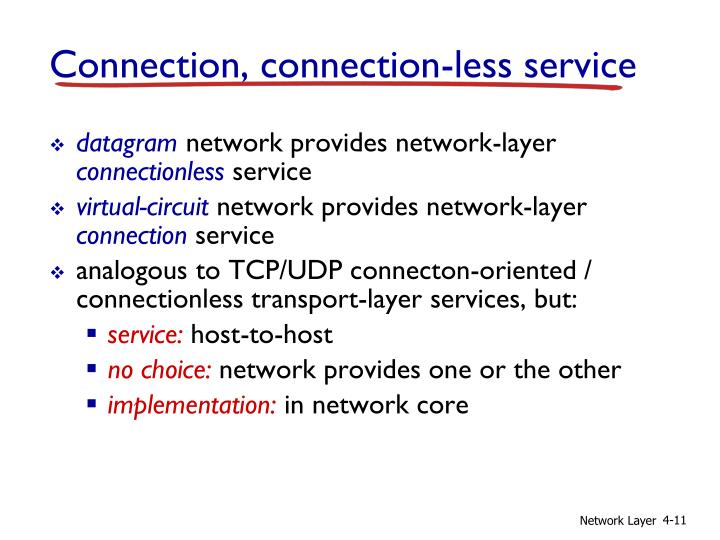 Connection, connection-less service