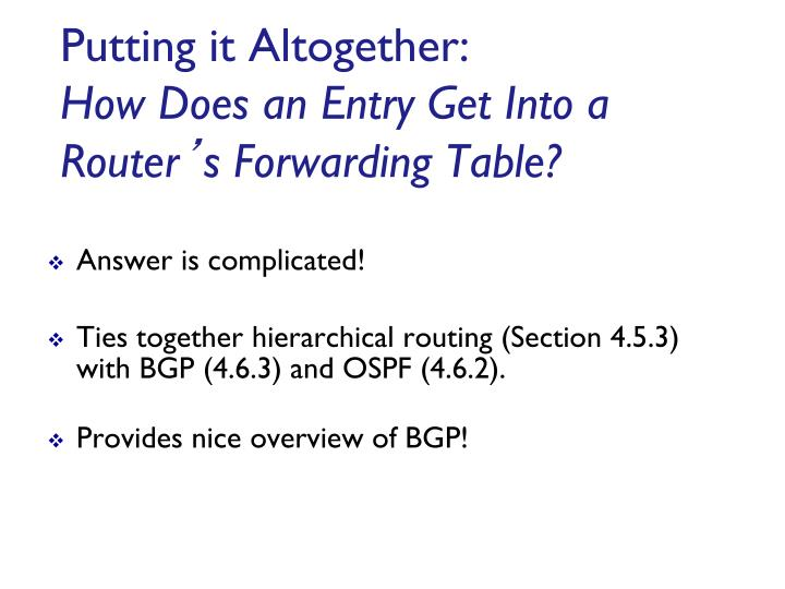 Putting it Altogether: